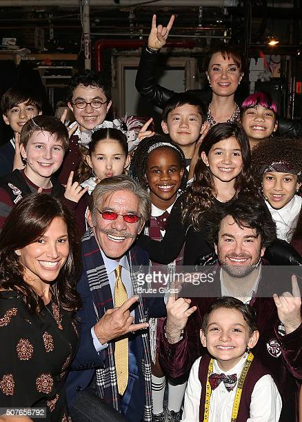 Geraldo Rivera wife Erica Michelle Levy and daughter Sol Liliana Rivera pose with the cast backstage at the matinee of Andrew Lloyd Webber hit...