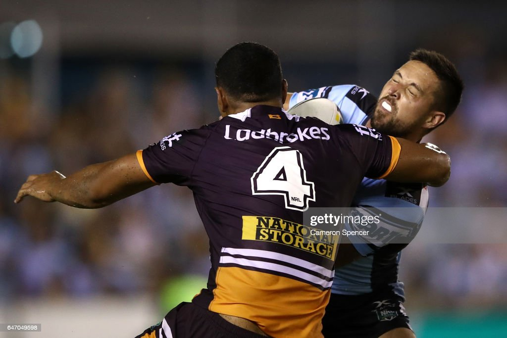 Gerard Beale of the Sharks is tackled during the round one NRL match between the Cronulla Sharks and the Brisbane Broncos at Southern Cross Group Stadium on March 2, 2017 in Sydney, Australia.