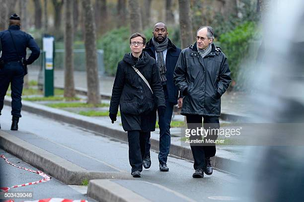 Gerard Biard Editor in Chief of Charlie Hebdo arrives to the inauguration of the memorial stone in front of the former Charlie Hebdo office on...