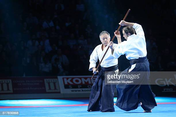 Gerard Blaize and his team practicing aikido during the Arts Martial Festival on March 26 2016 in the Accor Hotel Arena in Paris France