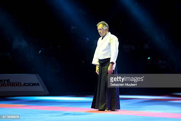 Gerard Blaize practicing aikido during the Arts Martial Festival on March 26 2016 in the Accor Hotel Arena in Paris France