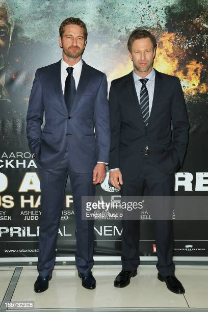 Gerard Butler and Aaron Eckhart attend the 'Olympus Has Fallen' premiere at Cinema Adriano on April 5 2013 in Rome Italy