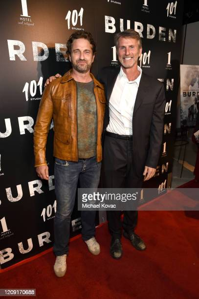 "Gerard Butler and Andrew Heckler attend the LA screening of ""BURDEN"" on February 27, 2020 in Los Angeles, California."
