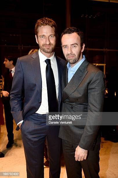 Gerard Butler and Brendan Mullane Creative Director of Brioni attend a gala dinner by Antonello Colonna for the movie 'Olympus Has Fallen' on April 5...