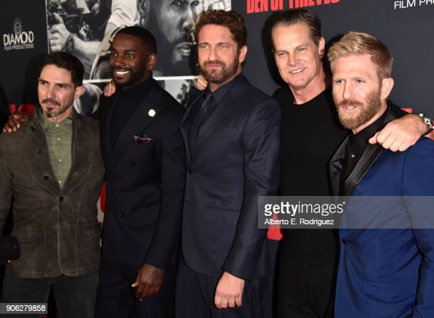 Gerard Butler and cast attend the premiere of STX Films' 'Den of Thieves' at Regal LA Live Stadium 14 on January 17 2018 in Los Angeles California