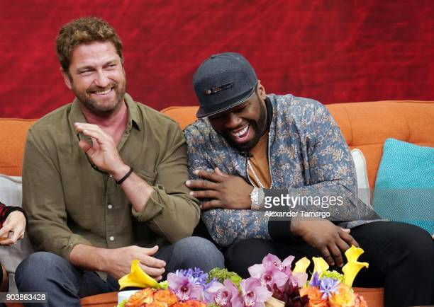Gerard Butler and Curtis 50 Cent Jackson are seen on the set of Despierta America at Univision Studios to promote the film Den of Thieves on January...