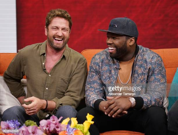 Gerard Butler and Curtis '50 Cent' Jackson are seen on the set of 'Despierta America' at Univision Studios to promote the film 'Den of Thieves' on...