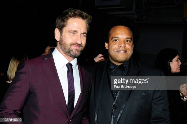 Gerard Butler and Eric Lewis attend Lionsgate With The Cinema Society Host The After Party For The World Premiere Of 'Hunter Killer' at Intrepid...