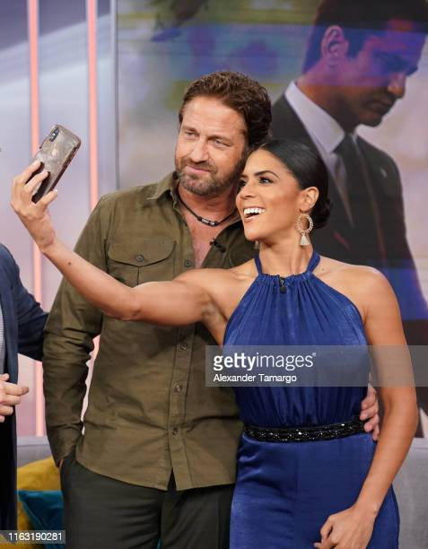Gerard Butler and Francisca Lachapel are seen on the set of Despierta America at Univision Studios to promote the film Angel Has Fallen on August 22...