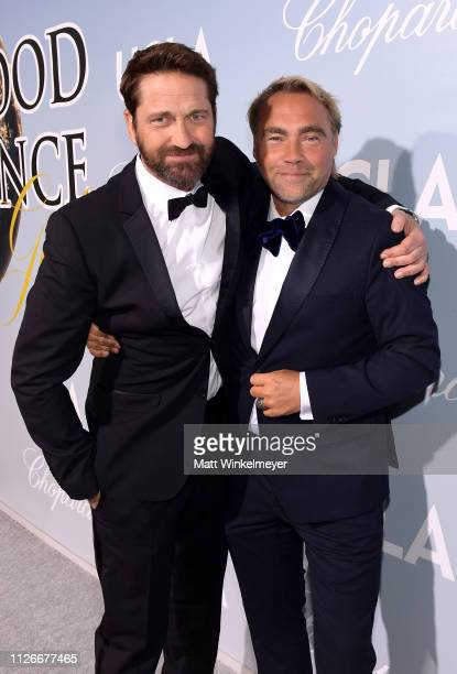 Gerard Butler and guest attend the UCLA IoES honors Barbra Streisand and Gisele Bundchen at the 2019 Hollywood for Science Gala on February 21 2019...