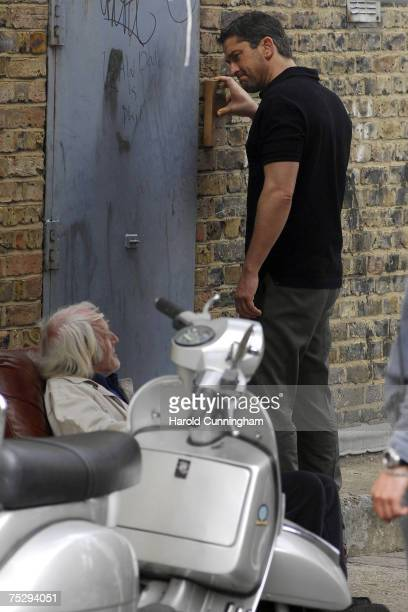 Gerard Butler and guest during the filming of RocknRolla on July 5 2007 in London England
