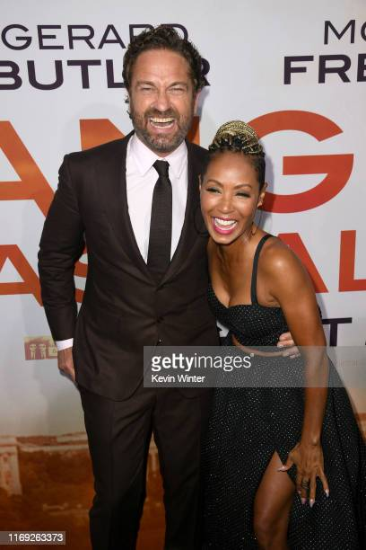 "Gerard Butler and Jada Pinkett Smith attend the LA Premiere of Lionsgate's ""Angel Has Fallen"" at Regency Village Theatre on August 20, 2019 in..."