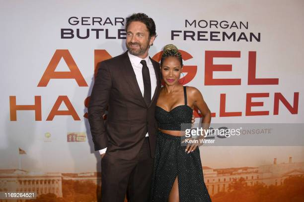 Gerard Butler and Jada Pinkett Smith attend the LA Premiere of Lionsgate's Angel Has Fallen at Regency Village Theatre on August 20 2019 in Westwood...