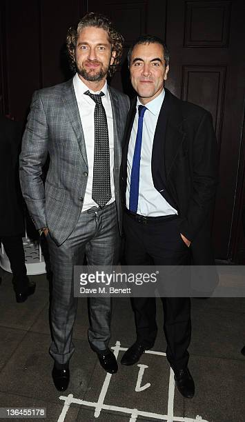 Gerard Butler and James Nesbitt attend an after party for the special screening of Coriolanus at The Curzon Mayfair on January 5 2012 in London...