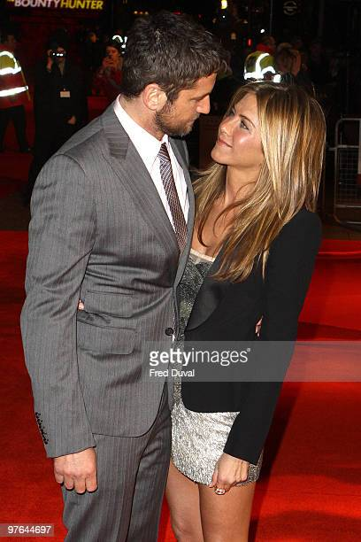 Gerard Butler and Jennifer Aniston attends the Gala Premiere of 'The Bounty Hunter' at Vue Leicester Square on March 11 2010 in London England