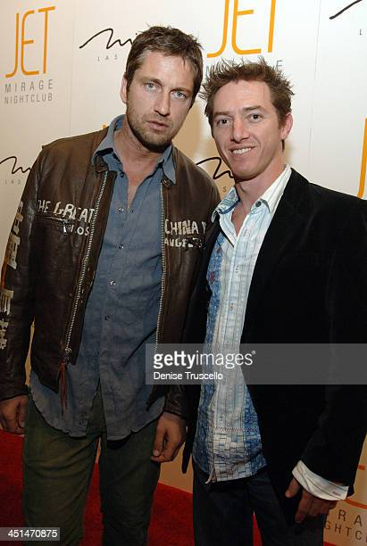 Gerard Butler and Jeremy Plager during JET Nightclub First Anniversary Celebration Red Carpet at The Mirage Hotel and Casino Resort at The Mirage...