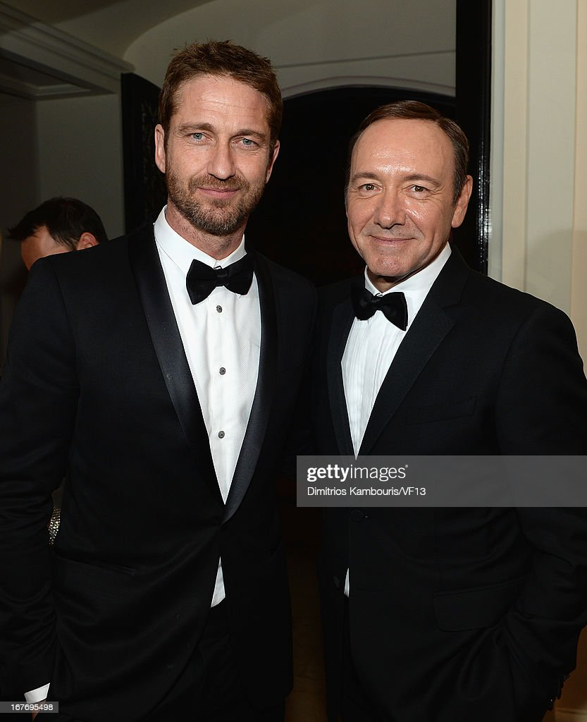 Gerard Butler and Kevin Spacey attend the Bloomberg & Vanity Fair cocktail reception following the 2013 WHCA Dinner at the residence of the French Ambassador on April 27, 2013 in Washington, DC.