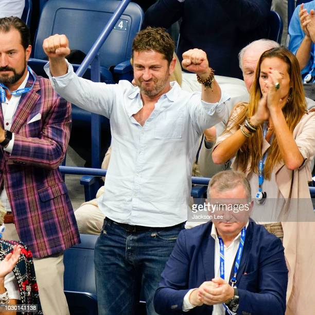 Gerard Butler and Morgan Brown at the 2018 US Open men's final on September 9 2018 in New York City