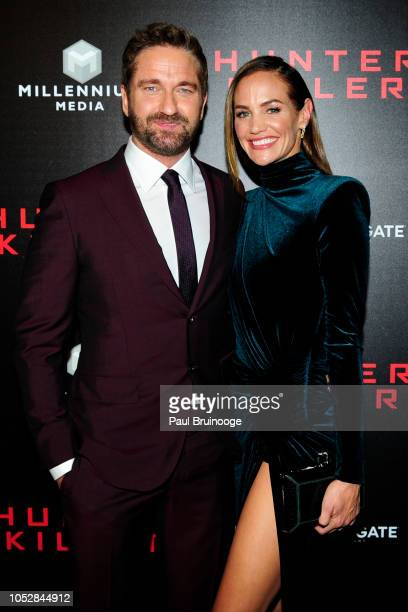Gerard Butler and Morgan Brown attend Lionsgate With The Cinema Society Host The World Premiere Of Hunter Killer at Intrepid SeaAirSpace Museum NYC...