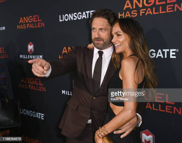Gerard Butler and Morgan Brown attend the LA Premiere of Lionsgate's Angel Has Fallen at Regency Village Theatre on August 20 2019 in Westwood...