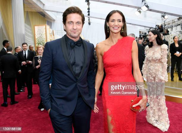 Gerard Butler and Morgan Brown attends the 92nd Annual Academy Awards at Hollywood and Highland on February 09, 2020 in Hollywood, California.