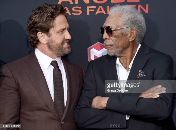 Gerard Butler and Morgan Freeman arrive at the LA Premiere Of Lionsgate's Angel Has Fallen at Regency Village Theatre on August 20 2019 in Westwood...