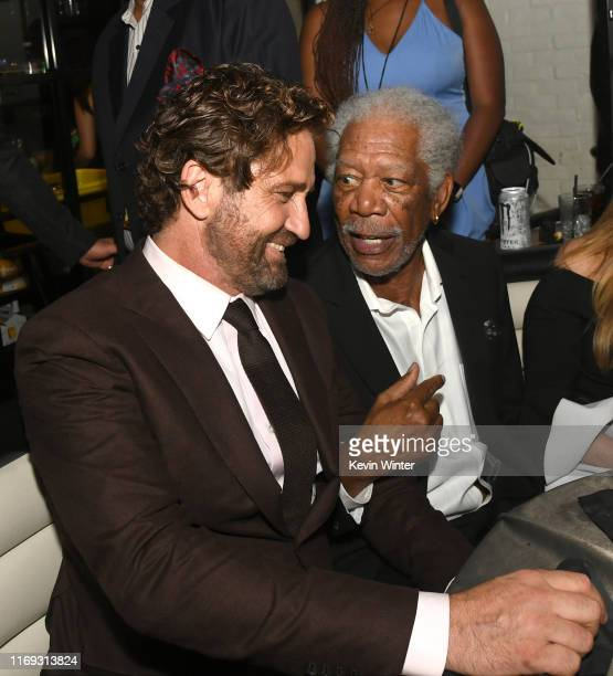 Gerard Butler and Morgan Freeman attend the after party for the premiere of Lionsgate's Angel Has Fallen at STK on August 20 2019 in Westwood...