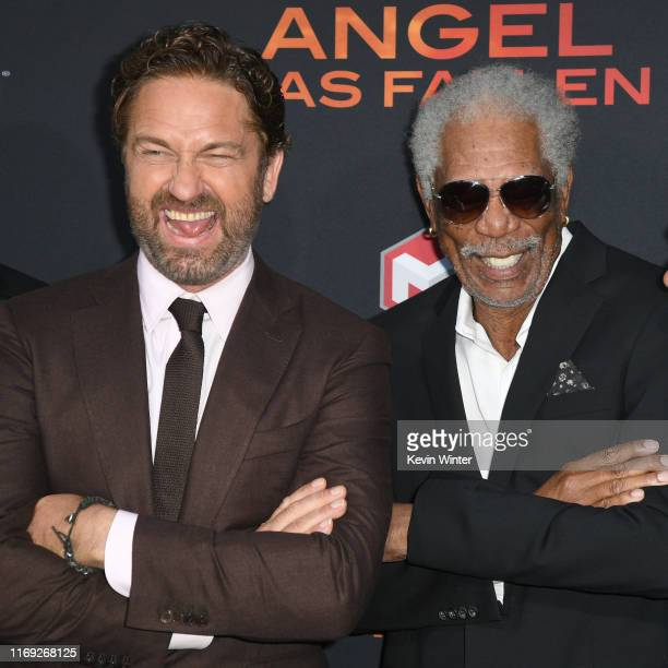 Gerard Butler and Morgan Freeman attend the LA Premiere of Lionsgate's Angel Has Fallen at Regency Village Theatre on August 20 2019 in Westwood...