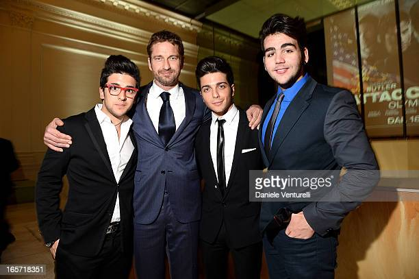 Gerard Butler and Piero Barone Gianluca Ginoble and Ignazio Boschetto of Il Volo attend the gala dinner by Antonello Colonna for the movie 'Olympus...
