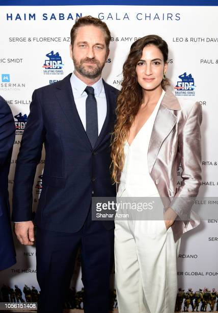 Gerard Butler and RonaLee Shimon attend Friends of The Israel Defense Forces Western Region Gala at The Beverly Hilton Hotel on November 1 2018 in...