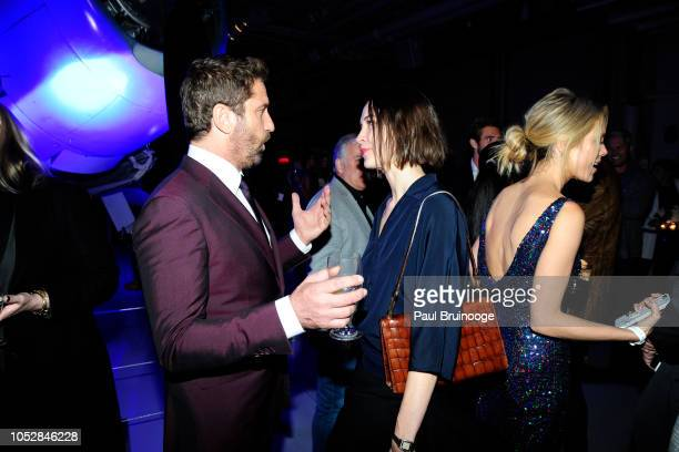 Gerard Butler and Sydney Lemmon attend Lionsgate With The Cinema Society Host The After Party For The World Premiere Of 'Hunter Killer' at Intrepid...