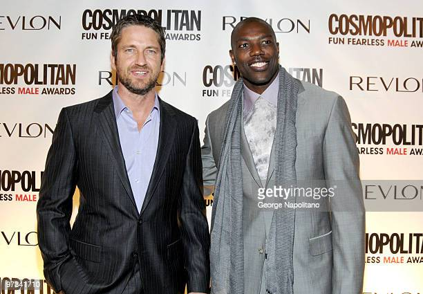 Gerard Butler and Terrell Owens attend Cosmopolitan Magazine's Fun Fearless Males of 2010 at the Mandarin Oriental Hotel on March 1 2010 in New York...