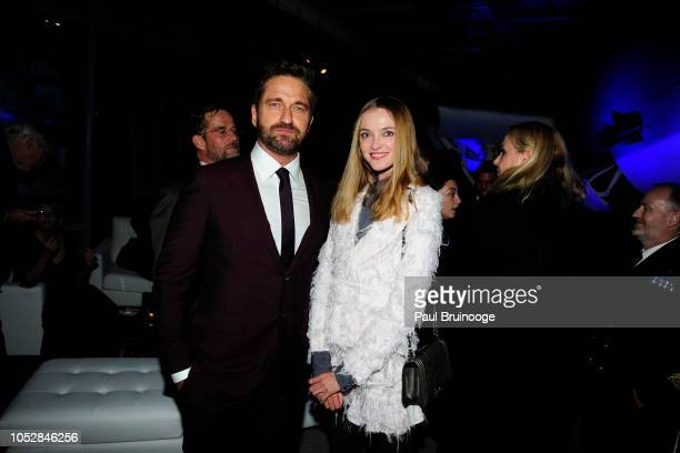 Gerard Butler and Vlada Roslyakova attend Lionsgate With The Cinema Society Host The After Party For The World Premiere Of 'Hunter Killer' at...