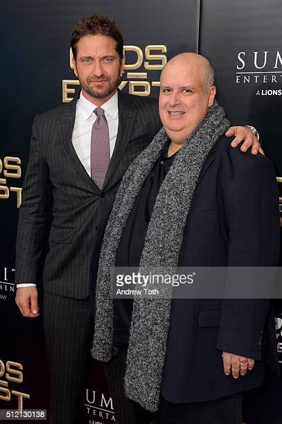 Gerard Butler and writer/director Alex Proyas attend the 'Gods Of Egypt' New York City premiere at AMC Loews Lincoln Square 13 theater on February 24...