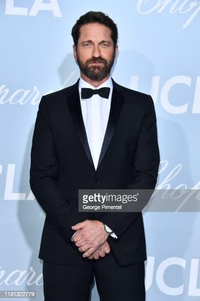 Gerard Butler arrives at the 2019 Hollywood For Science Gala at Private Residence on February 21 2019 in Los Angeles California