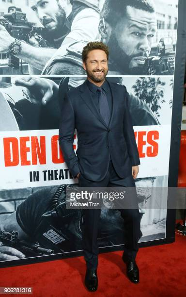 Gerard Butler arrives to Los Angeles premiere of STX Films' Den Of Thieves held at Regal LA Live Stadium 14 on January 17 2018 in Los Angeles...