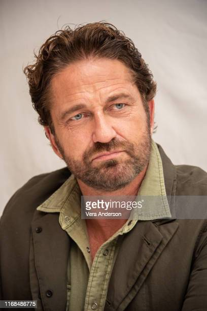 """Gerard Butler at the """"Angel Has Fallen"""" Press Conference at the Four Seasons Hotel on August 16, 2019 in Beverly Hills, California."""