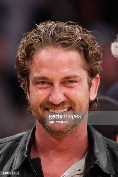 Gerard Butler attends a basketball game between the Oklahoma City Thunder and the Los Angeles Lakers at Staples Center on April 22 2012 in Los...