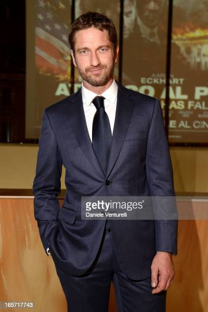 Gerard Butler attends a gala dinner by Antonello Colonna for the movie 'Olympus Has Fallen' on April 5 2013 in Rome Italy
