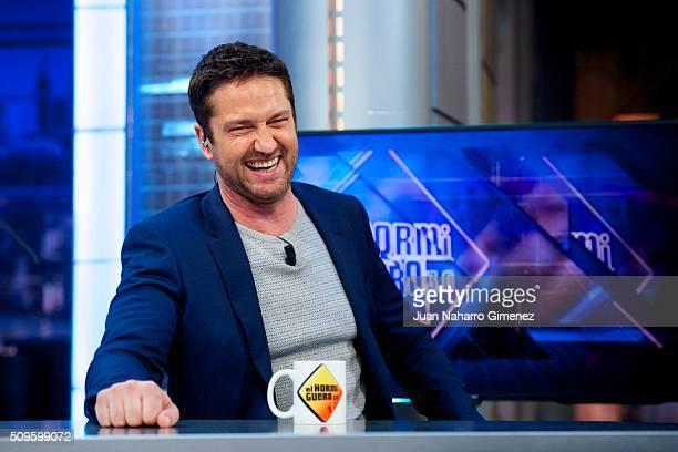 Gerard Butler attends 'El Hormiguero' Tv show at Vertice Studio on February 11 2016 in Madrid Spain