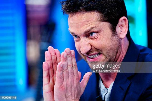 Gerard Butler attends 'El Hormiguero' Tv show at Vertice Studio on February 11 2016 in Madrid Spain