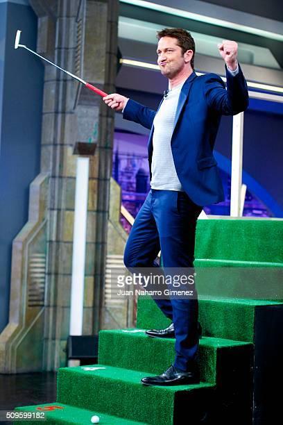 Gerard Butler attends 'El Hormiguero' Tv show at Vertice Studio on February 11, 2016 in Madrid, Spain.