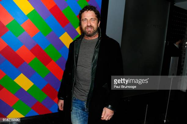 Gerard Butler attends The Cinema Society with Ravage Wines Synchrony host a screening of Marvel Studios' 'Black Panther' at The Museum of Modern Art...