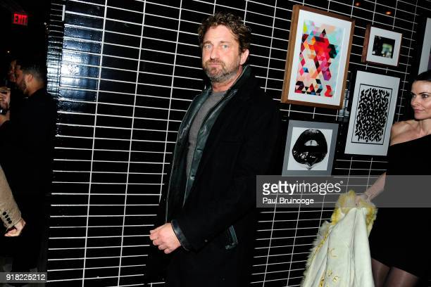 Gerard Butler attends The Cinema Society with Ravage Wines Synchrony host the after party for Marvel Studios' 'Black Panther' at The Skylark on...