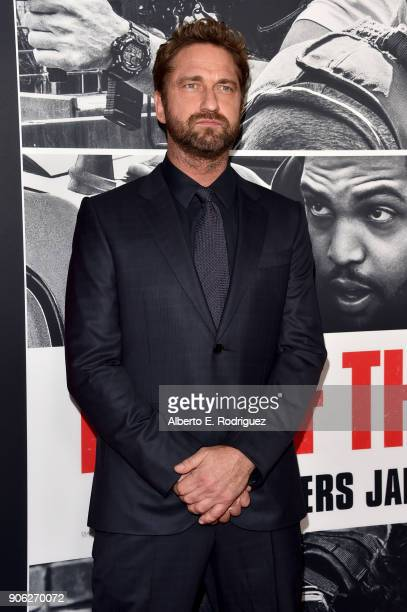 Gerard Butler attends the premiere of STX Films' Den of Thieves at Regal LA Live Stadium 14 on January 17 2018 in Los Angeles California