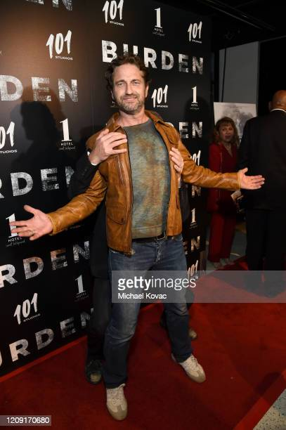 "Gerard Butler attends the LA screening of ""BURDEN"" on February 27, 2020 in Los Angeles, California."