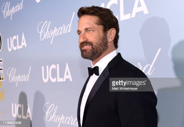 Gerard Butler attends the UCLA IoES honors Barbra Streisand and Gisele Bundchen at the 2019 Hollywood for Science Gala on February 21 2019 in Beverly...
