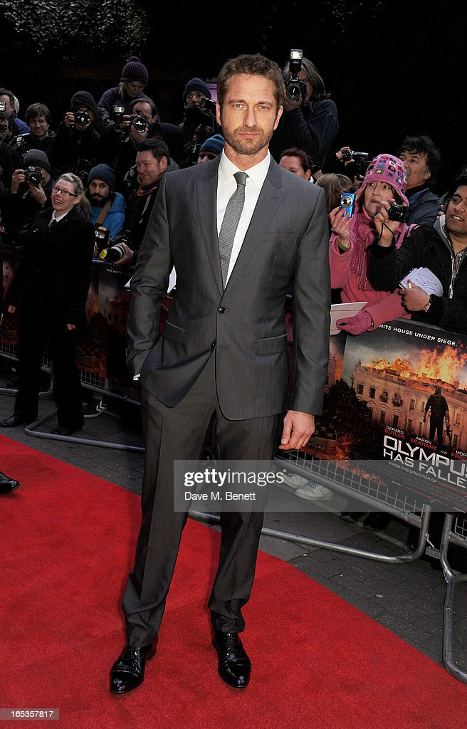 Gerard Butler attends the UK Premiere of 'Olympus Has Fallen' at BFI IMAX on April 3, 2013 in London, England.