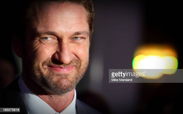 Gerard Butler attends the UK Premiere of 'Olympus Has Fallen' at BFI IMAX on April 3 2013 in London England