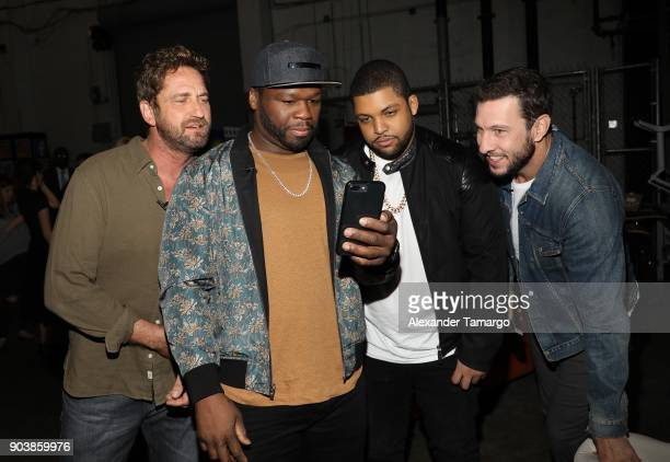 Gerard Butler Curtis '50 Cent' Jackson O'Shea Jackson Jr and Pablo Schreiber are seen on the set of 'Despierta America' at Univision Studios to...